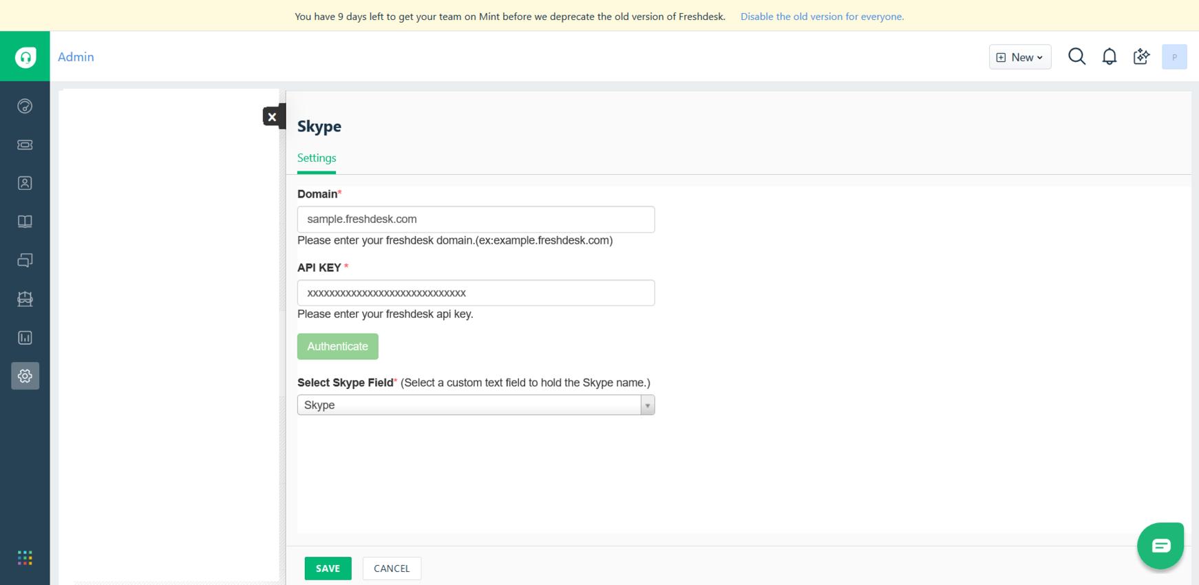 Skype V2 - Freshworks Marketplace